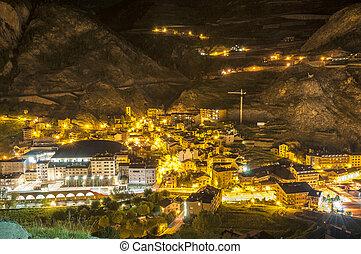 Andorra La Vella village at night where all the lights are...