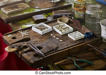 Work table in jewelery workshop in Sri Lanka