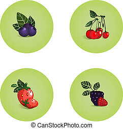 Blackberry Cherry Strawberry Bilberry Icons - Vector EPS8...