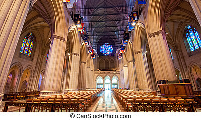 the interior architecture in washington national cathedral,...