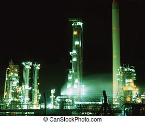 Oil Refinery - Oil refinery illuminated at night