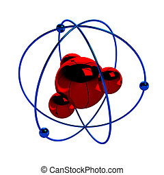 Digital illustration of atom. render