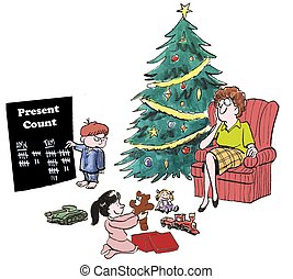 Presents - Boy keeping count of his presents and his...