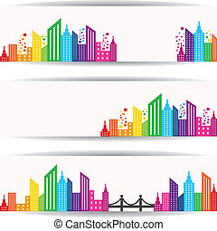 Abstract colorful building design for website banner stock...