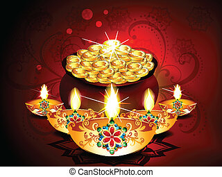 Diwali Background With Deepak Set Vector illustration