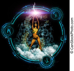 Fantasy Woman With Mystic Symbols - Fantasy woman stands...