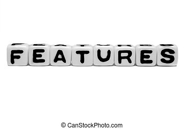 Features text message with alphabets on white background