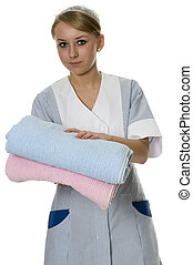 maid with bath towels