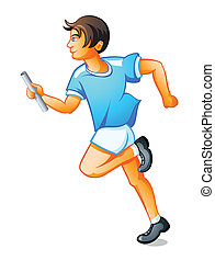 Runner boy - Happy runner boy with relay baton isolated