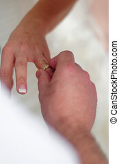 Couple on wedding ring - The memorable moment on wedding...