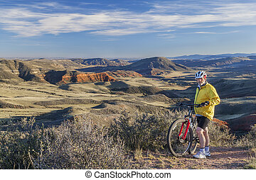 mountain biking in Colorado - senior male mountain biking in...