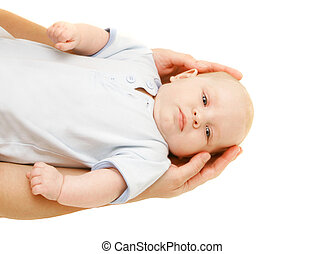 baby in parent\'s hands over white