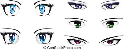 Different anime eyes - Manga style eyes of different colors...