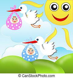 azul, bebês, Cegonhas, céu, fundo, carregar