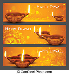 Diwali Holiday banner - illustration of burning diya on...