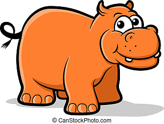 Hippo - Illustration of an orange hippo character