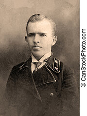 Old photo - A vintage photo portrait from 1912 of Russian...