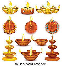 Collection of Diwali Decorated Diya - illustration of...