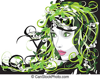 Girl with floral hair - Illustration of spring girl with...