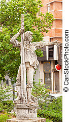 Land Ho Rodgrigo de Triana Statue Seville Andalusia Spain...
