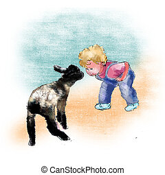 Little Boy and Lamb - A mischievous little boy plays with a...