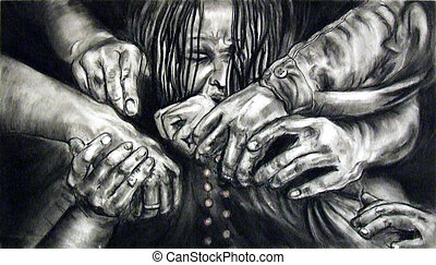 Hands Holding Each Other - Illustration of a group of people...