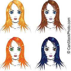 Girls with different hair colors - Illustration of four...