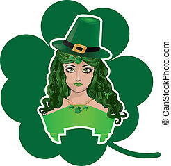 Leprechaun girl with shamrock - Illustration of a girl with...
