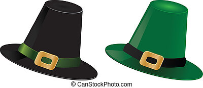 Leprechaun hats - Illustration of St Patricks day green and...