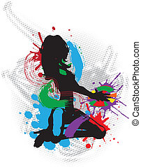 Illustration of a music DJ - Grunge illustration of a music...