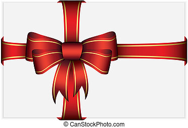 Red bow with ribbons, vector illust