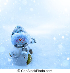 Christmas snowman and blue snow background