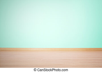background, blank wall and floor in a blue green color -...