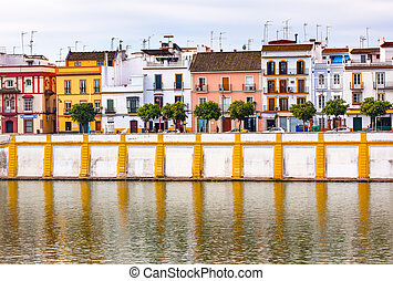 Houses Stores Restaurants River Guadalquivr Morning...