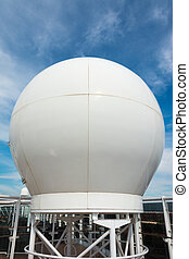 Radar dome on large cruise ship - Radar system on large ship