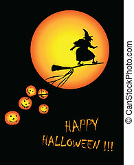 surfing witch - vector illustration of Halloween card ....
