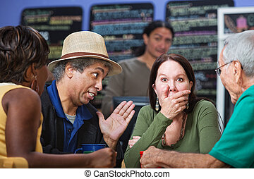 Embarrassed Woman in Group