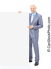 Nice businessman holds white poste - Nice businessman holds...