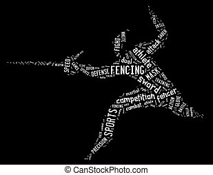 fencing pictogram with related wordings on black background...
