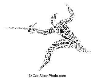 pictogramme, escrime, apparenté,  wordings, fond, blanc