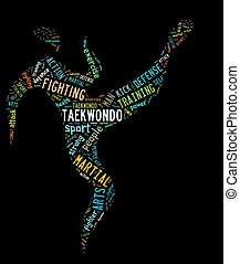taekwondo pictogram with colorfully colored related wordings on black background