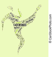 taekwondo pictogram with related wordings on green...