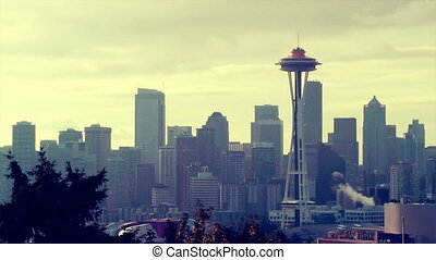 Seattle Skyline - Downtown Seattle cityscape with Space...