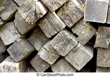 railroad ties - stack of weathered railroad ties showing...