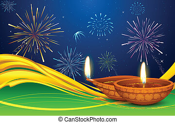 Diwali Diya - illustration of Diwali diya on firework...