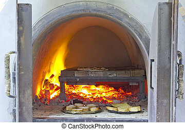 ladrillo, pizza, horno, fuego