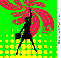 Superhero Business Woman Pop Art - Business women accomplish...
