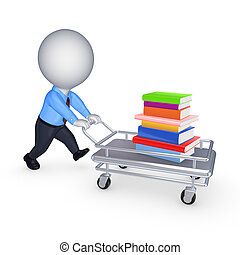 Stack of books on a pushcart.