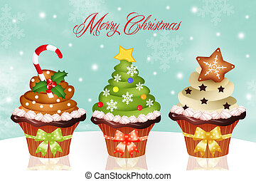 Christmas cupcakes - Illustration of Christmas cupcakes