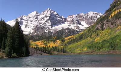 Maroon Bells in Autumn - an autumn landscape of scenic...